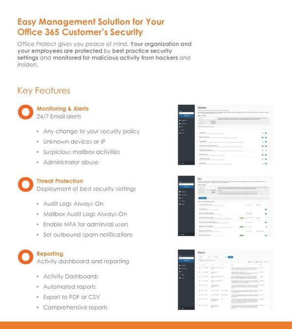 Easy Management Solution for Your Office 365 Customer's Security